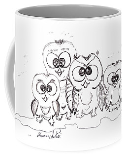 Coffee Mug featuring the drawing Just The Four Of Us by Ramona Matei