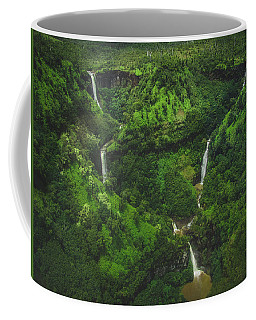 Coffee Mug featuring the photograph Kahili Falls Aerial by Andy Konieczny