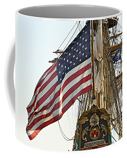 Kalmar Nyckel American Flag Coffee Mug by Alice Gipson