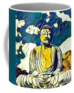 Coffee Mug featuring the mixed media Kamakura Daibutsu by Lita Kelley
