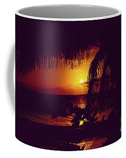 Kamaole Tropical Nights Sunset Gold Purple Palm Coffee Mug by Sharon Mau
