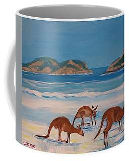 Kangaroos On The Beach Coffee Mug