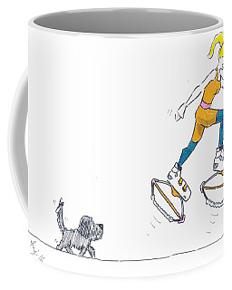 Kangoo Jumps Bouncy Shoes Walking The Dog Keep Fit Cartoon Coffee Mug