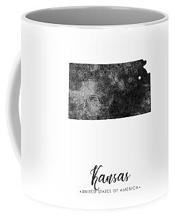 Kansas State Map Art - Grunge Silhouette Coffee Mug