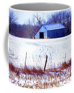 Kansas Winter Field Barn 1 Coffee Mug