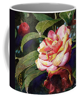 Coffee Mug featuring the painting Karma Camellia by Andrew King
