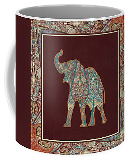 Coffee Mug featuring the painting Kashmir Patterned Elephant 3 - Boho Tribal Home Decor by Audrey Jeanne Roberts