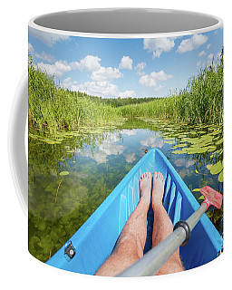 Kayaking On The River In The Summer. Coffee Mug