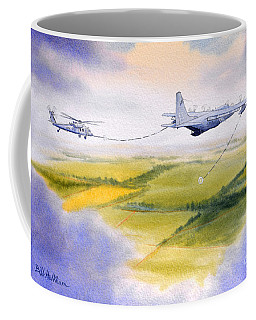 Coffee Mug featuring the painting Kc-130 Tanker Aircraft Refueling Pave Hawk by Bill Holkham