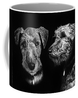 Coffee Mug featuring the drawing Keeper The Welsh Terrier by Peter Piatt