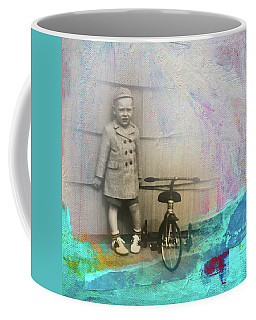 Coffee Mug featuring the mixed media Kent Tricycle by Nancy Merkle