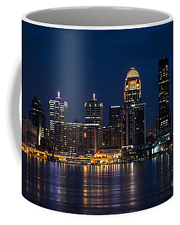 Louisville At Night Coffee Mug by Andrea Silies