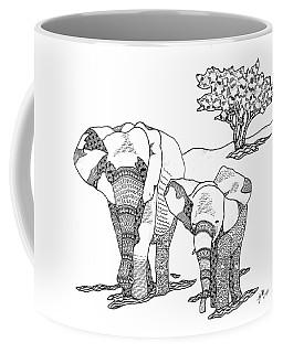 Coffee Mug featuring the drawing Kenyan Walk by Jan Steinle