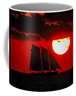Key West Sunset Sail Silhouette Coffee Mug