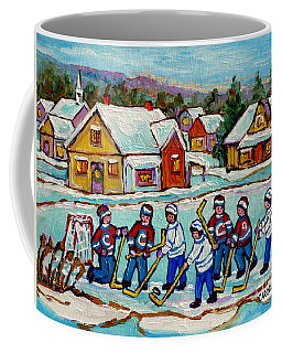 Kids Playing Hockey On Frozen Pond Cozy Country Village Scene Canadian Landscape Painting C Spandau  Coffee Mug