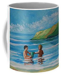 Kids Playing On The Beach Coffee Mug
