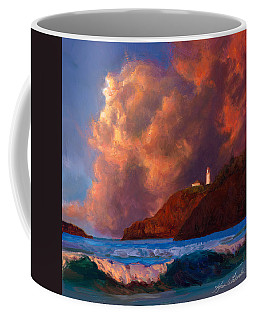 Kilauea Lighthouse - Hawaiian Cliffs Sunset Seascape And Clouds Coffee Mug