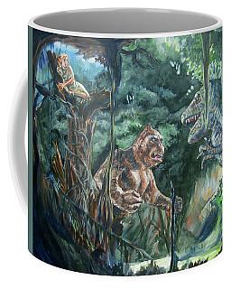 Coffee Mug featuring the painting King Kong Vs T-rex by Bryan Bustard