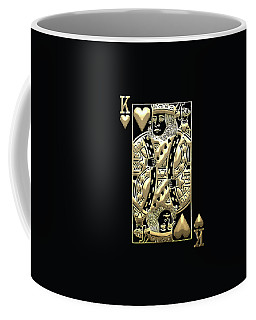 King Of Hearts In Gold On Black Coffee Mug