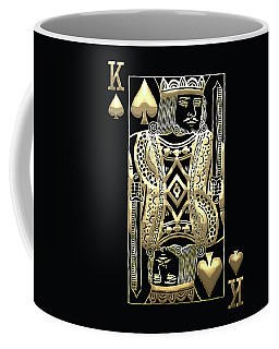 King Of Spades In Gold On Black   Coffee Mug