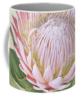 Coffee Mug featuring the painting King Protea Blossom - Vintage Style Botanical Floral 1 by Audrey Jeanne Roberts