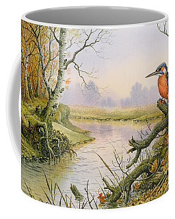 Kingfisher  Autumn River Scene Coffee Mug