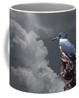 Kingfisher Stormy Background Coffee Mug by Rosalie Scanlon