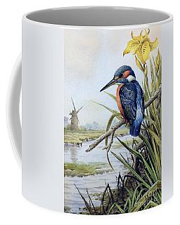 Kingfisher With Flag Iris And Windmill Coffee Mug