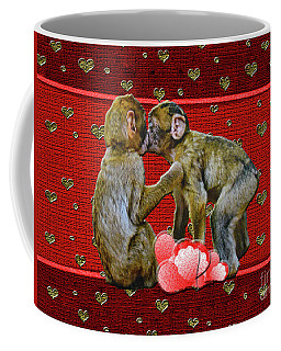 Coffee Mug featuring the photograph Kissing Chimpanzees Hearts by Rockin Docks Deluxephotos