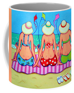 Kite Flying 101 - Girlfriends On Beach Coffee Mug