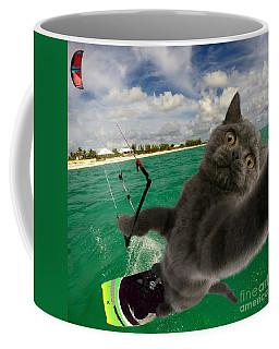 Kite Surfing Cat Selfie Coffee Mug