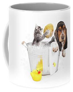 Kitten Washing Basset Hound In Tub Coffee Mug