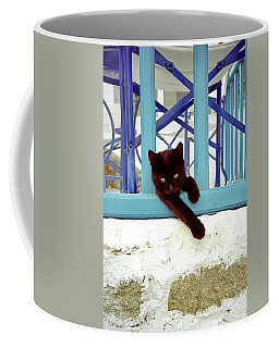 Kitten With Blue Rail Coffee Mug