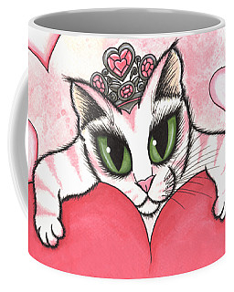 Coffee Mug featuring the painting Kitten With Heart by Carrie Hawks