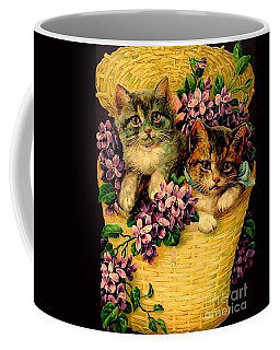 Kittens With Violets Victorian Print Coffee Mug