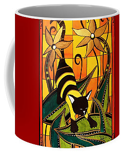 Kitty Bee - Cat Art By Dora Hathazi Mendes Coffee Mug by Dora Hathazi Mendes