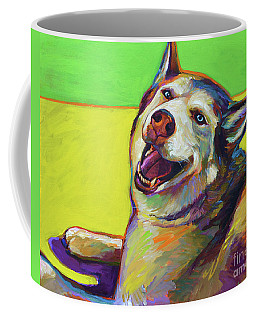 Coffee Mug featuring the painting Kitty, The Husky by Robert Phelps