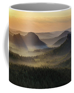 Kleiner Winterberg Silhouettes, Saxon Switzerland, Germany Coffee Mug