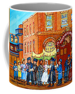 Coffee Mug featuring the painting Klezmer Band Jewish Wedding Musicians Live Performance Bagg Synagogue Montreal Carole Spandau        by Carole Spandau