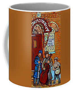 Coffee Mug featuring the painting Klezmer Band Live Performance At Bagg Synagogue Montreal Street Scene Jewish Art Carole Spandau      by Carole Spandau