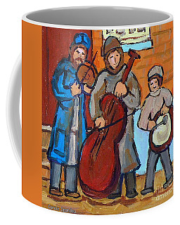 Coffee Mug featuring the painting Klezmer Band Three Musicians Street Performance Montreal Street Scene Jewish Art Carole Spandau      by Carole Spandau