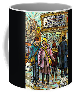 Coffee Mug featuring the painting Klezmer Jazz Marquee Rialto Park Ave Winter Walk Girl In Pink Jacket Montreal  Art Carole Spandau  by Carole Spandau