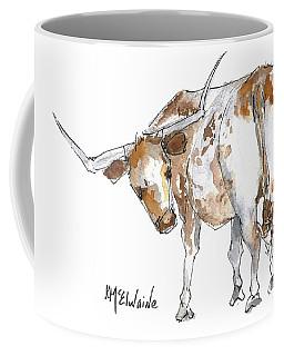 Kmcelwaine Logo Longhorn, Ollie, Texas Longhorn Art Print,watercolor Cow Painting, Whimsical, Coffee Mug