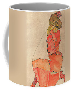 Coffee Mug featuring the drawing Kneeling Female In Orange-red Dress by Egon Schiele
