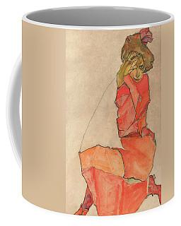 Kneeling Female In Orange-red Dress Coffee Mug