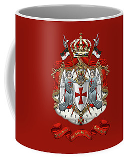Knights Templar - Coat Of Arms Over Red Velvet Coffee Mug