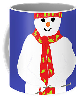 Coffee Mug featuring the digital art Knitting Snowman by Barbara Moignard