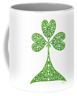 Coffee Mug featuring the drawing Knotted Shamrock by Lise Winne