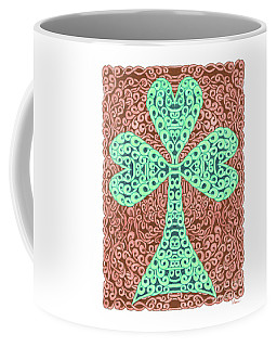 Knotted Shamrock With Brown Background Coffee Mug by Lise Winne