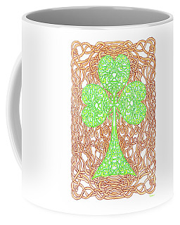 Knotted Shamrock With Knotted Background Coffee Mug by Lise Winne